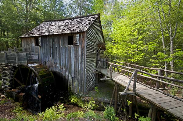 The gristmill in Cades Cove in the Great Smoky Mountains National Park.