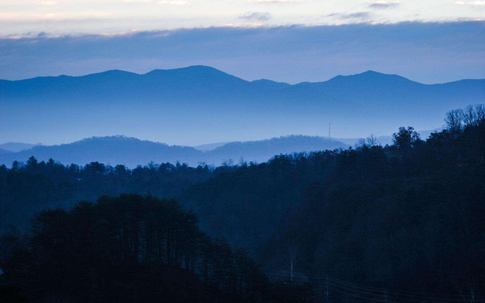 The Great Smoky Mountains with a blue haze.