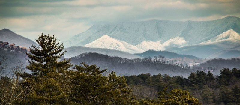 The Great Smoky Mountains with snow in the highest elevations.