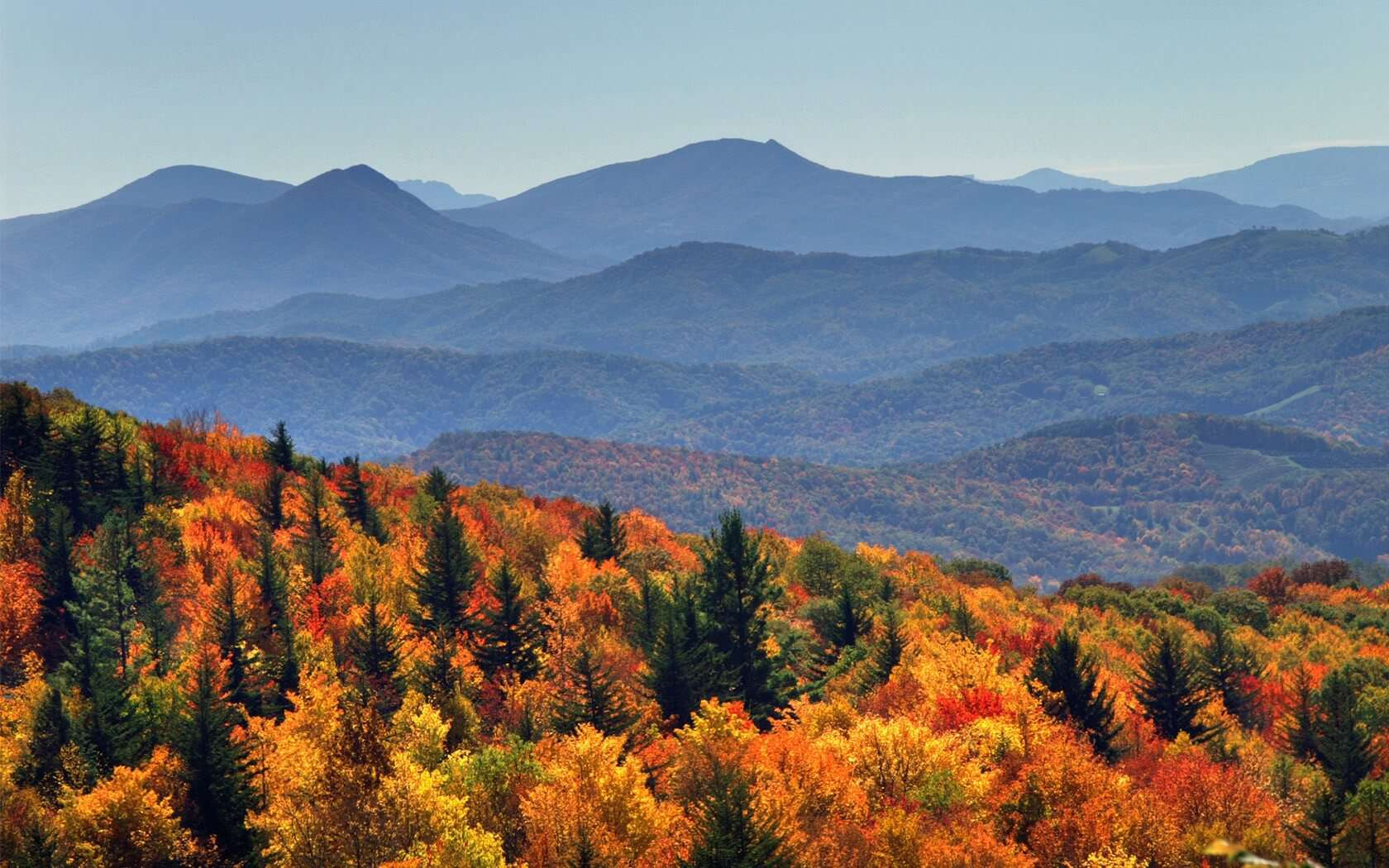 Breathtaking photo of the Smoky Mountains in the fall.
