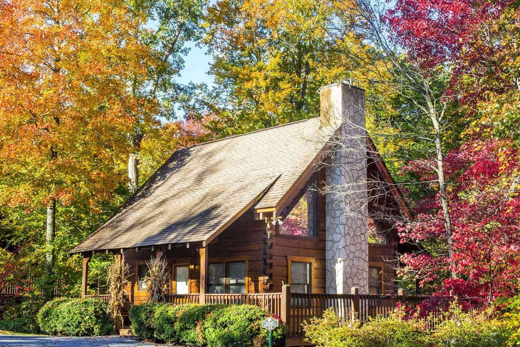 eagles ridge cabin in the woods in fall
