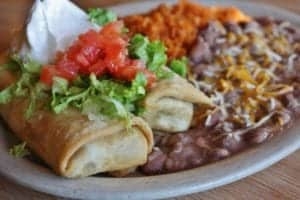 chimichanga with rice and refried beans